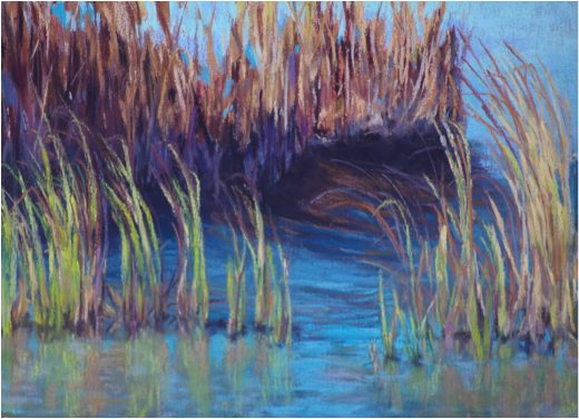 Pastel Painting of grass in Schindler Lake in Rural British Columbia by Cindy Whitehead - www.cindywhiteheadstudio.com