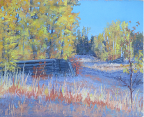 Pastel Painting of old homestead buildings in Autumn in Rural British Columbia by Cindy Whitehead - www.cindywhiteheadstudio.com
