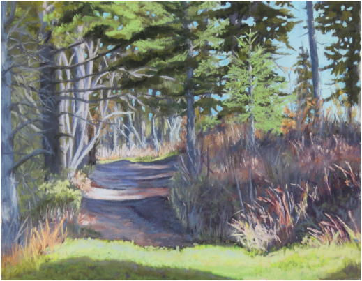 Pastel Painting of a strip of light on path in Autumn in Rural British Columbia by Cindy Whitehead - www.cindywhiteheadstudio.com
