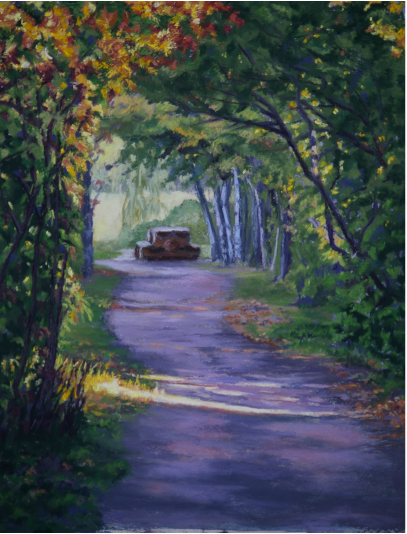 Pastel Painting of an empty picnic table in Salmon Arm Wildlife Sanctuary in British Columbia by Cindy Whitehead - www.cindywhiteheadstudio.com